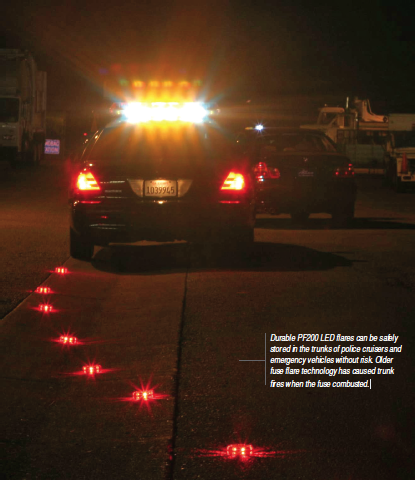 Durable PF200 LED flares can be safely stored in the trunks of police cruisers and emergency vehicles without risk.