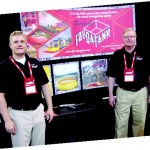 At another exhibit inside Lucas Oil, Chad and Jan Christensen, exhibited the patented, portable Fol-da-tank.