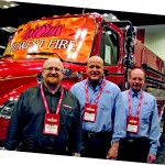 From left are The Municipal's Steve Gutowski, with Kraig Scholten and Rick Peterson of Midwest Fire, in the main exhibit hall of the Indiana Convention Center. (Photos by Karyn Brumbaugh)
