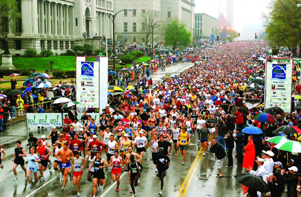 Hundreds of local residents and visitors from across the country step up at the start of the 2009 St. Louis Marathon. The event takes place every April and is organized by a private group. The St. Louis Office of Special Events coordinates the race and all other events that take place on city streets or in city parks.