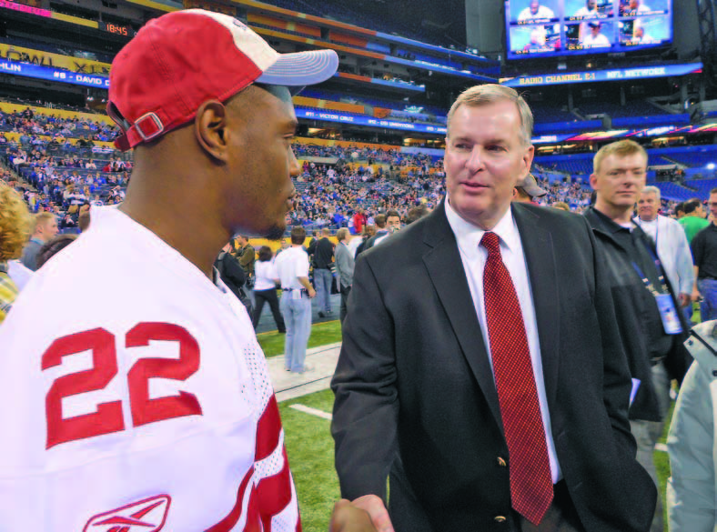 Mayor Ballard chats with New York Giants Defensive Back Derrick Martin during Super Bowl XLVI Media Day in January. Indianapolis set the bar high for future Super Bowl host cities.