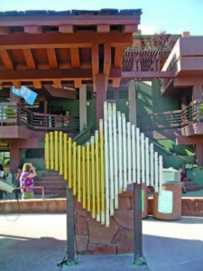This musical swirl created by Freenotes Harmony Park is mounted at the uptown bus shelter in Sedona, Ariz.