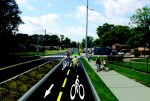Concept art of the proposed Overton-Broad Connector, showing what the finished green lane may look like