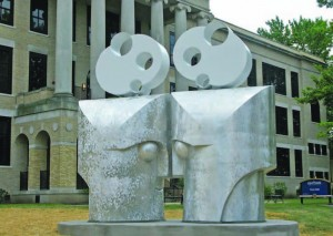 "Kenyon College art professor Barry Gunderson's piece, ""Eye to Eye."""