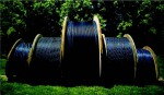 Giant spools of fiber optics await installation in Chattanooga, Tenn.