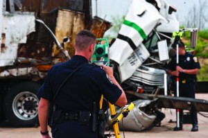 Law enforcement courses that can be taken online include accident evaluation. (Photo courtesy of TEEX)