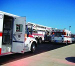 Ambulances line up outside a local high school during the 2012 exercise.