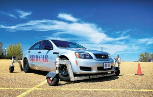 Alabama Municipal Insurance Corporation and Municipal Workers Compensation Fund offer municipalities driver training programs that feature the Skidcar System, which simulates loss of front, rear or four-wheel grip at low speeds. (Photo provided by Elmore DeMott)