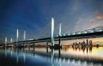 The new Downtown Crossing is a cable-stayed bridge that will allow for sweeping views of the already existing Kennedy Bridge and the Louisville Skyline. It will make transport between Indiana and Kentucky much easier. The photo shows a digital rendering of the crossing. (Photo provided)