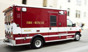 An ambulance traveling at 50 mph possesses a large amount of kinetic energy. It is this energy that causes tires to skid and metal to crush during an accident.