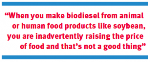"""When you make biodiesel from animal or human food products like soybean, you are inadvertently raising the price of food and that's not a good thing"""