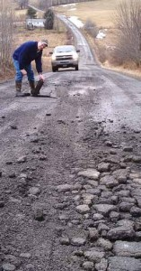 "Broken, ""pie-crust"" roads tend to develop when heavy trucks repeatedly carry large loads of sand, water and equipment to fracking wells. (Photo provided)"