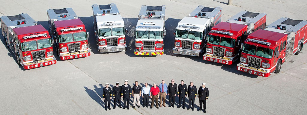Aerial view of seven fire engines purchased earlier this year by Springfield and Republic, Mo., and the Nixa Fire Protection District.