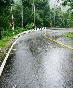 On a rainy day with a wet road, total stopping distance can increase to as much as 510 feet for a vehicle traveling at 55 mph. That's likely to be more distance than you have at your disposal. (Shutterstock photo)