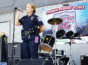 Chief DiPino speaks to the crowd during a local event last year. (Photo provided by Sarasota Police Department)