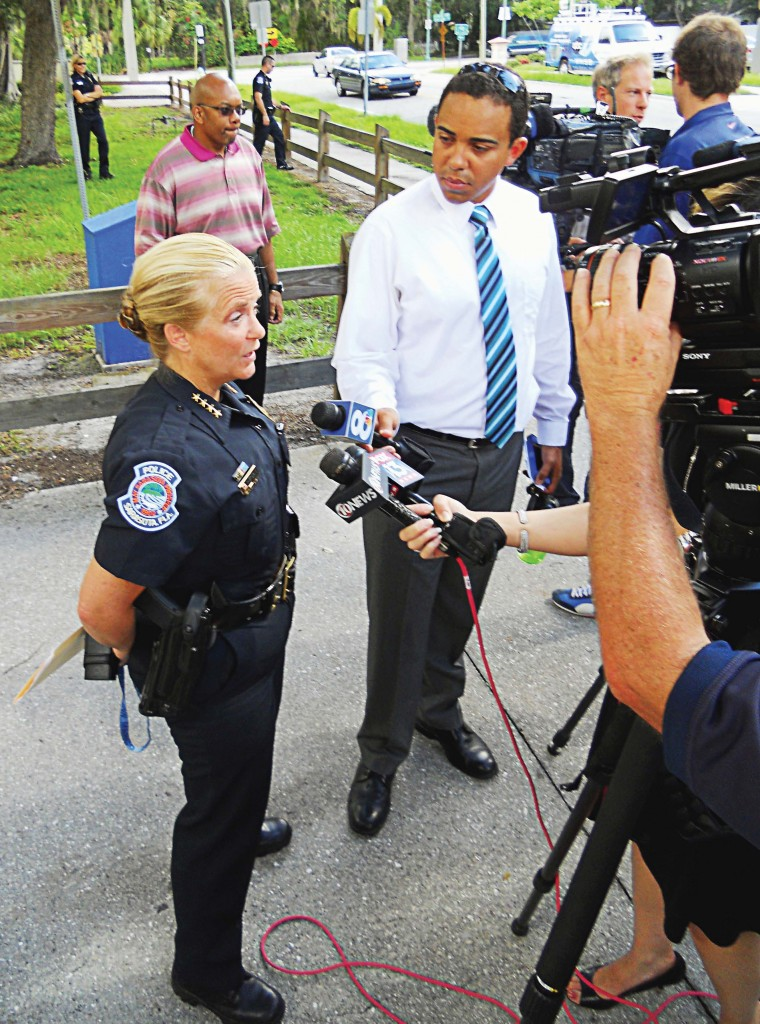 Chief DiPino speaks to the media at a press conference. (Photo provided by Sarasota Police Department)