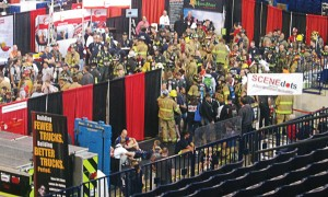 Participants suit up before the start of the 9/11 Memorial Stair Climb at fdic 2013. The climb comes back to Lucas Oil Stadium this year: Sign-up is open online through www.fdic.com. (Photo by Jodi Magallanes)