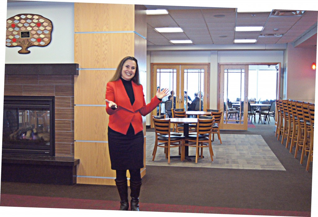 Mayor Mary Hamann-Roland stands inside Valleywood Golf Course Clubhouse in Apple Valley, Minn. (Photo provided)