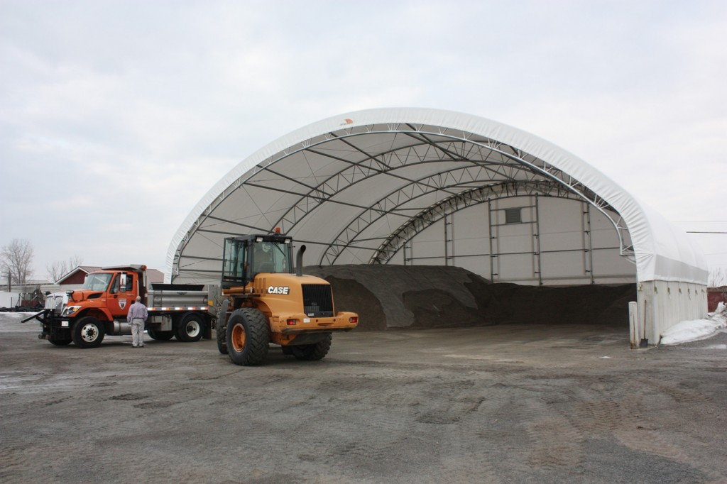 ClearSpan's 72'W x 60'L Hercules Truss Arch Building for Sand & Salt Storage.