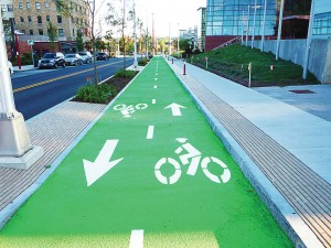 This color pavement marking with anti-skid surfacing is typically used for demarcation of bicycle and pedestrian paths, bus lanes, stops and other specially designated areas. This bike lane is in Syracuse, N.Y. (Photo courtesy of Transpo Industries)