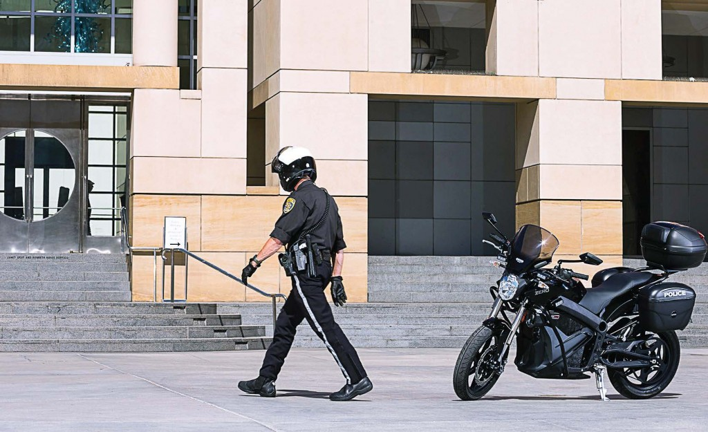 While electric motorcycles tend to have a charge range of 100 miles or so, that's double the average mileage covered during a patrol officer's shift. The vehicle's top speed is around 100 mph. (Photo provided)