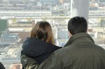A couple pauses to enjoy the — romantic? — view of the Newtown Creek sewer plant in Brooklyn, N.Y., during last year's Valentine's Day tour. (Photo provided)