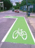 Louisville, Ky., installed a color pavement marking system on a number of bike lanes. (Photo courtesy of Transpo Industries)