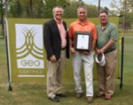 Bear Trace Superintendent Paul L. Carter (center) is congratulated by Jacobsen President David Withers (left) and Bob Martineau (right), Commissioner of the Tennessee Department of Environmental Conservation (TDEC) for the course's Golf Environment Organization (GEO) Certification completed earlier this month.