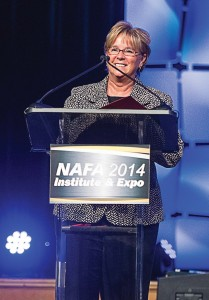 The Municipal Publication Manager Kim Gross was among the presenters of Flexy Awards to deserving municipal and commercial fleet managers at the 2014 nafa institute and expo in April. (Photo courtesy Kristen Driscoll Photography)