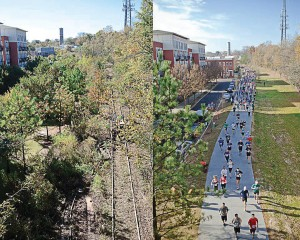 Before and after photos of a portion of Eastside Trail in Atlanta, Ga., a project using TIF funding to develop a network of public parks, multi-use trails and transit along a 22-mile historic railroad corridor that connects 45 in-town neighborhoods. The project was completed in 2009. (Photo provided)
