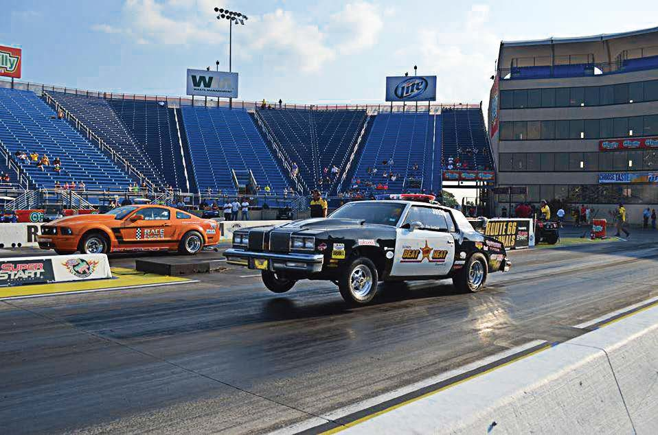 Officer Jim Luckett from Romeoville, Ill., sets off during a drag race. (Photo provided)