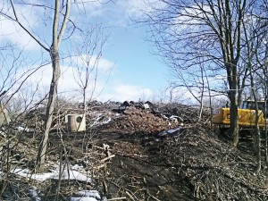 Work begins on brush/yard waste removal at the Kokomo Yard Waste Recycling Center in Indiana. (Photo provided)