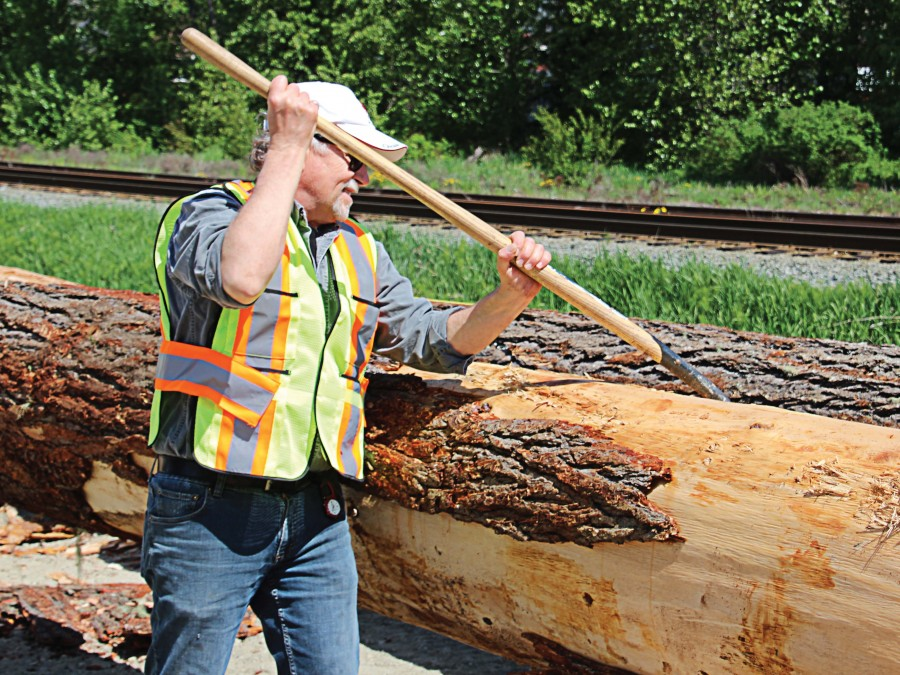 A volunteer scrapes bark from what will become a support beam for an open-walled timber frame barn in Pemberton, British Columbia. The 50-foot-wide and 150-foot-long structure, made of completely sustainable materials, sits downtown between the main street and railroad tracks that run through the village. (Photo provided)