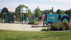 Updated playground equipment at J.F. Kennedy Park features a train theme. (Photo provided)