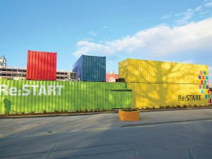 The Re:Start mall is a vibrantly painted retail complex that consists of shipping containers. The makeshift, post-quake solution is currently home to retail spaces, coffee shops and restaurants. (Photo provided)