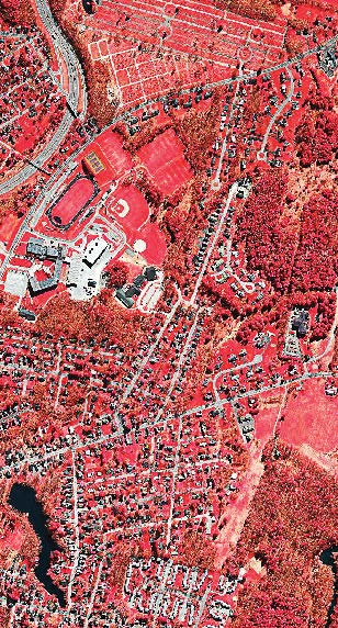 A portion of Portland, Maine, appears in sharp resolution in this infrared lidar image. The varying shades of red indicate the relative permeability of each surface. Impervious components appear in white or gray. (Screen shot from maps.woolpert.com)