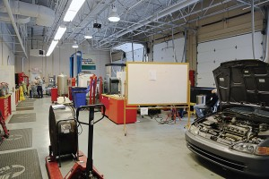 When working with CNG and other gaseous fuel vehicles, shops must be up to code in order to handle unintended releases of fuel. Pictured is the National Alternative Fuels Training Consortium's shop. (Photo provided)