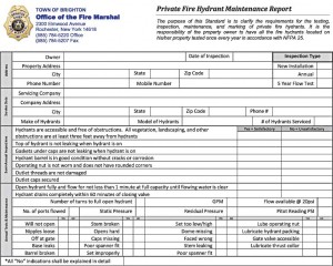 An example of a private fire hydrant maintenance report makes inspection quick and reliable, since property owners or their testing representatives are reminded of each part and process that needs to be tested or examined.