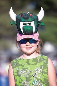 Young girl wearing hodag hat