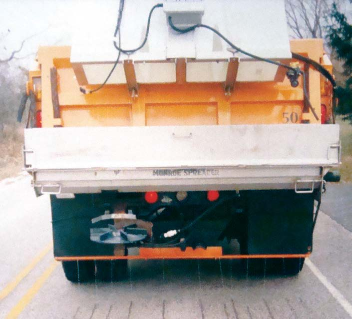 The homemade anti-ice unit was made by converting a pre-wet unit to spray lines on the road. (Photo provided)