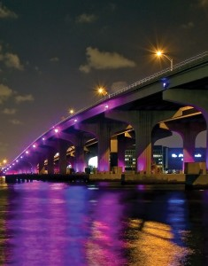 This photo of the MacArthur Causeway in Downtown Miami shows some of the colorful and artistic lights that have been added to Miami's infrastructure.