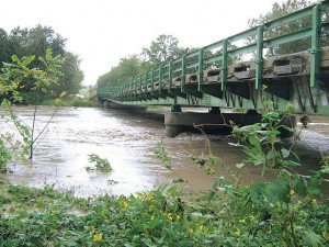 This photo illustrates the washed-away center pier of a continuous steel-girder bridge over the Thompson River in North Missouri, due to heavy rainfall on Sept. 22, 2010. (Photo provided)