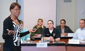 Leading another section of training on how to identify and mitigate natural tendencies toward bias is retired Lt. Sandra Brown of Palo Alto, Calif.