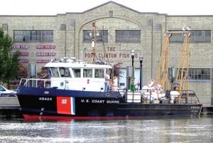 A USCG buoy tender arrives in Port Clinton after buoy retrieval.