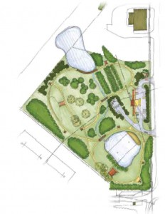 Pictured is the design for the Denso Eco Park in Athens, Tenn., which will feature a hiking trail, solar shade structure, permeable parking, natural swimming pool, Japanese fruit orchard, existing wetlands and more. (Photo provided)