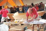 "The Wooden Boat Challenge, dubbed ""The Superbowl of Boatbuilding,"" involves teams of two working against a four-hour time limit to build a seaworthy vessel under the watchful eyes of hundreds of spectators. Teams are judged on speed, quality of workmanship and their fi nishing position in the ensuing rowing race. (Photo courtesy of Georgetown Wooden Boat Show)"