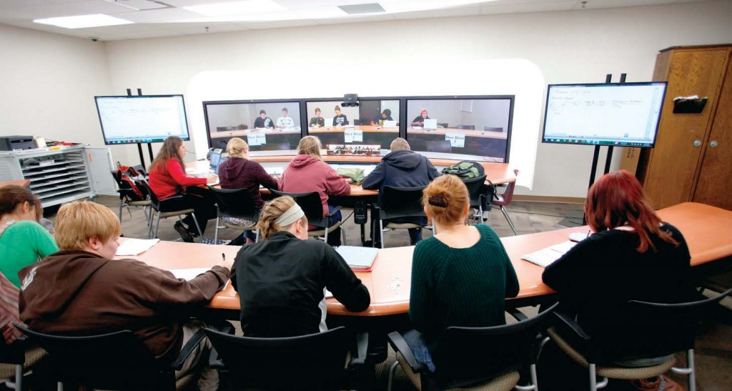 Students participate in a teleconference session in the Itasca area of Minnesota as part of a Minnesota Intelligent Rural Communities and Blandin