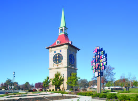 Standing 60 feet tall from the ground to the top of the finial, Berne, Ind.'s reproduction of the famous Bern, Switzerland clock tower is 32 feet wide square at its base, has four large clock faces, weighs approximately 1,216 tons, took four months to construct and displays animated fiberglass figurines performing scenes from the settlement of the city. (Photo provided)