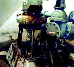 In this specific example of condition assessment, a 2-inch by 6-inch board holds up a pump at a dry shaft station in a very wet environment that has caused rapid corrosion. (Photo provided)