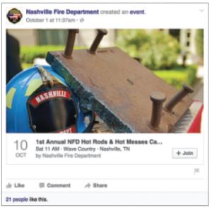 The department created a public event on its Facebook page that allows public members to add themselves to the event and even invite friends to join.